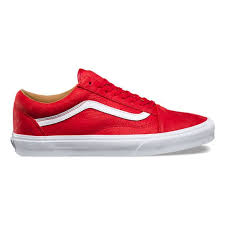 vans shoes red and white. vans shoes old skool premium leather mens - racing red/true white (8g1mrv) red and