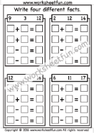 Addition Facts To 20 Chart Numbers Fact Family Free Printable Worksheets Worksheetfun