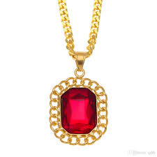 whole mens 18k gold plated diamond pendant high quality stainless steel fashion necklace for men hip hop cuban link chain ruby pendants necklaces white