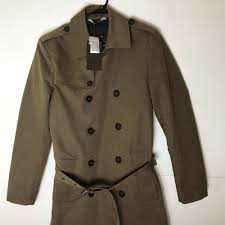 details about zara man water repellent double ted trench coat men sz small