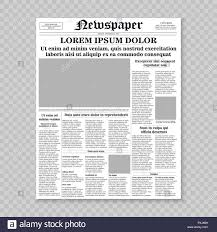 Newspaper Front Template Realistic Newspaper Front Page Template Vector Illustration