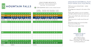 Golf Score Card Template Mountain Falls Scorecard Elite Golf Management