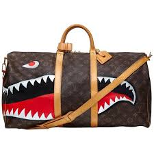 customized shark vintage louis vuitton monogram keepall bag