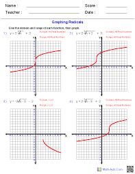 radical functions worksheets