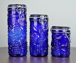 set of 3 vintage cobalt blue glass canisters fruit embossed wire bail lids 32 00 pic
