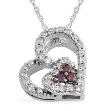 10k white gold round diamond purple diamond love heart valentines pendant necklace 18 cttw 0 25