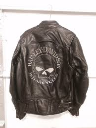 harley davidson willie g skull leather jacket mens medium jacket back
