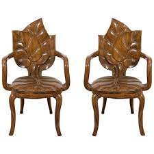 art nouveau furniture. Wonderful Furniture Art Nouveau Style Pair Of Sculptural Leaf Motif Armchairs Or Side Chairs  For Sale Furniture V