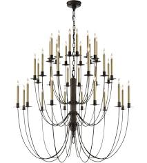 visual comfort tob5206ai thomas obrien erika 36 light 40 inch aged iron with wax chandelier ceiling light