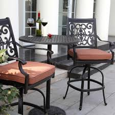 darlee st cruz 3 piece cast aluminum patio counter height bar set with swivel bar