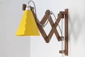 Shop Arie Wooden Scissor Lamp Yellow On Crowdyhouse