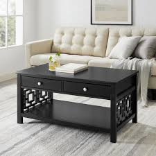 Black medium rectangle wood coffee table with lift top. Linon Home Decor Sloane 42 In Black Large Rectangle Wood Coffee Table With Drawers Thd02731 The Home Depot