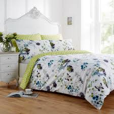 vantona clarissa fl design duvet cover set bright green reverse with teal and purple tones