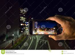 City Lights Video And Photography Shooting The City Lights With A Mobile Device Stock Image