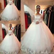 Vestido De Noiva New Design Custom Made Lace Long Sleeve Puffy