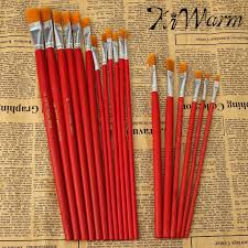 kiwarm 6 or 12pcs pack best promotion flat art brush set oil painting brush set blending size oil acrylic paint school supplies in paint brushes from home