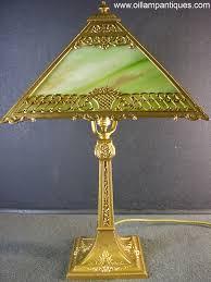 antique green slag glass lamp