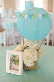 Hot air balloon centerpiece ideas. image source
