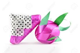 Coin Folding With Ribbon Is Shaped A Dragon Fruit Isolated On