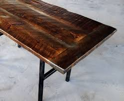 Kitchen Table Reclaimed Wood Hand Crafted Reclaimed Wood Kitchen Table With Steel Legs And Iron