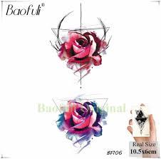 Baofuli эскиз треугольник роза акварель геометрический кит временная татуировка