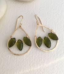 olive quartz teardrop chandelier earrings