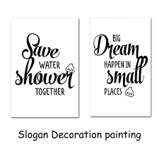 Quotes Letter Bathroom Quotes Toilet Letter Decoration Painting Wall Art Prints