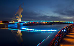 Wonderful Modern Bridge Lights Man Reflection River Night Photo