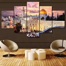 5 piece jerusalem modular picture wall decor high definition canvas ahuva  on messianic jewish wall art with israel art tagged jerusalem ahuva