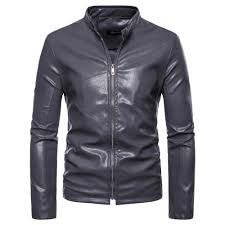 mens gray leather jacket motorcycle clearance jacket young men slim fit zipper blazers for boys us fashion style plus size