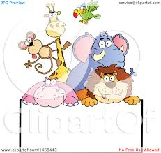 group of animals clipart. Exellent Animals Toons Clipart Group Of Zoo Animals Over A Sign 2 Royalty Free Vector  Illustration Inside N