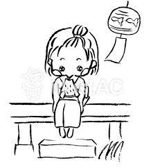 縁側でスイカを食べてる女の子 白黒イラスト No 1202682無料