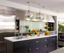 2 lights industrial pendant lighting over kitchen island with stainless steel undermount kitchen sink and