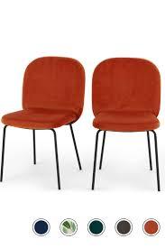 Set of <b>2</b> Safia <b>Dining Chairs</b>, Flame Orange Velvet | <b>Dining chairs</b> ...