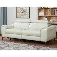 Light Grey Leather Recliner Sofa Kuka 3 Seater Grey Leather Power Reclining Sofa