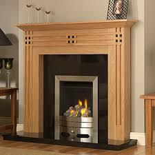 GB Mantels Chessington Clear Oak U0026 Black Fireplace Suite