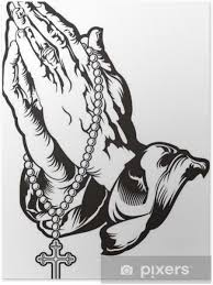 Plakát Modlit Se Za Ruce S Růženec Tetování