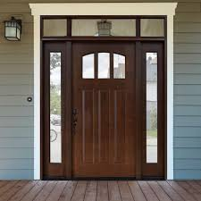 prehung wood exterior doors. craftsman 3 lite arch stained mahogany wood prehung front door with sidelites and transom, hickory exterior doors