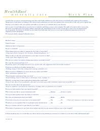 What To Put In A Birth Plan One Page Birth Plan Template Free Download