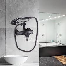 black brass wall mount clawfoot tub