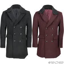 mens black maroon double ted overcoat detachable fur collar slim fit jacket
