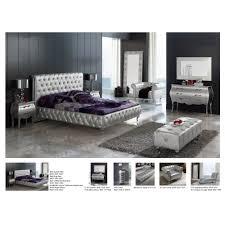 Mirror Bedroom Sets Lorena Bedroom Set Silver Bed Mirror And 2 Nightstands