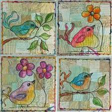 Bird Art Quilts. Thread sketching over quilted improv pieced ... & Bird Art Quilts. Thread sketching over quilted improv pieced background,  painted in with NeoColor Adamdwight.com
