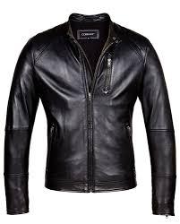 black corbani biker leather jacket with quilt front