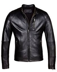 black corbani biker leather jacket with quilt front