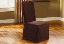 item 4 sure fit stretch pique long dining room chair slipcover in chocolate brown sure fit stretch pique long dining room chair slipcover in chocolate