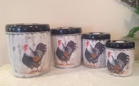 Rooster Kitchen Decor Rooster Canisters Etsy