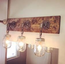 modern rustic wood handmade 3 mason jars light fixture pipe chain