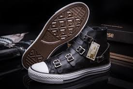 converse black leather limited edition high tops shoes womens