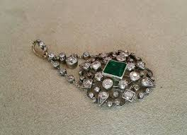 antique georgian emerald diamond pendant in 14k gold silver top hm1435 in excellent condition